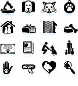 Pet Adoption black and white royalty free vector icon set