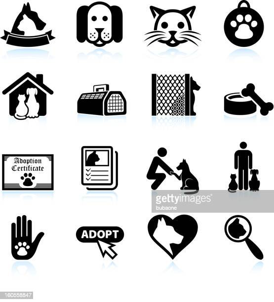 pet adoption black and white royalty free vector icon set - dog bowl stock illustrations, clip art, cartoons, & icons
