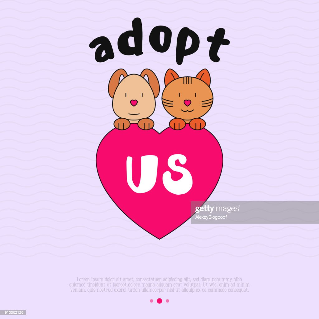 Pet adoption concept: funny cat and dog with heart in linear style. Modern vector illustration.