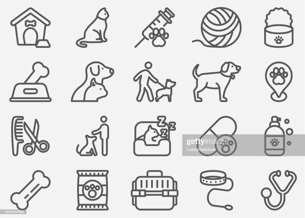 Animal de estimação e animais linha ícones : Ilustração