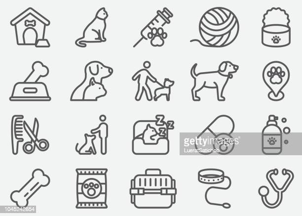 pet and animal line icons - pet equipment stock illustrations, clip art, cartoons, & icons
