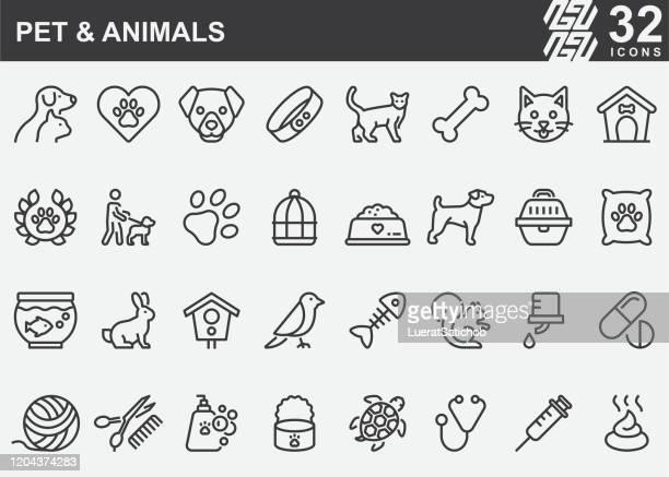 stockillustraties, clipart, cartoons en iconen met huisdier en dieren line iconen - fish love