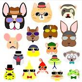 pet animals face set