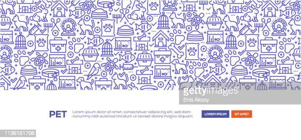 pet banner - animal track stock illustrations, clip art, cartoons, & icons