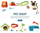 Pet care accessory. Pet shop decorative icons. Accessory for cats. Flat vector illustration on white background. Concept design for website or advertising