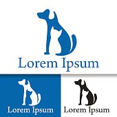 Pet care dog cat logo illustratuin design