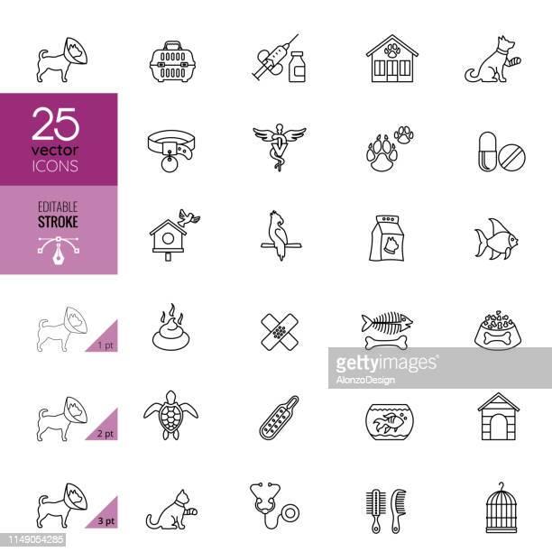 pet care icon set. editable stroke - pet equipment stock illustrations