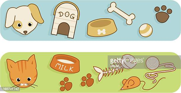 pet care items - dog toys stock illustrations