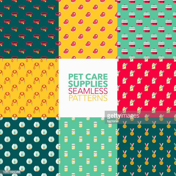 pet care supplies seamless pattern set - dog toys stock illustrations