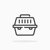Pet carrier icon in line style.