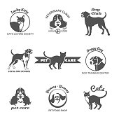 Pet club, dog center, veterinary clinic logos, emblems and badges