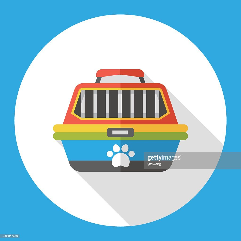 pet dog travel cage flat icon