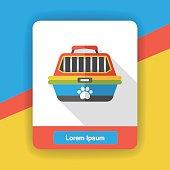 pet dog travel cage flat icon