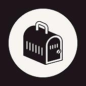 pet dog travel cage icon