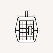 pet dog travel cage line icon