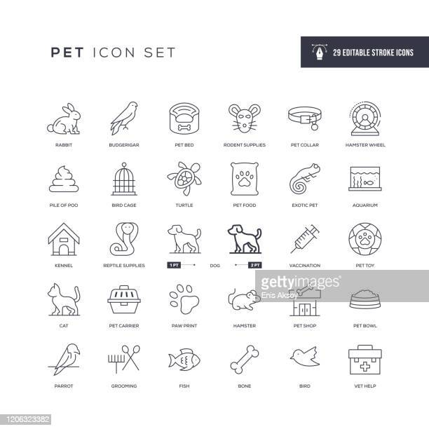 pet editable stroke line icons - dog toys stock illustrations