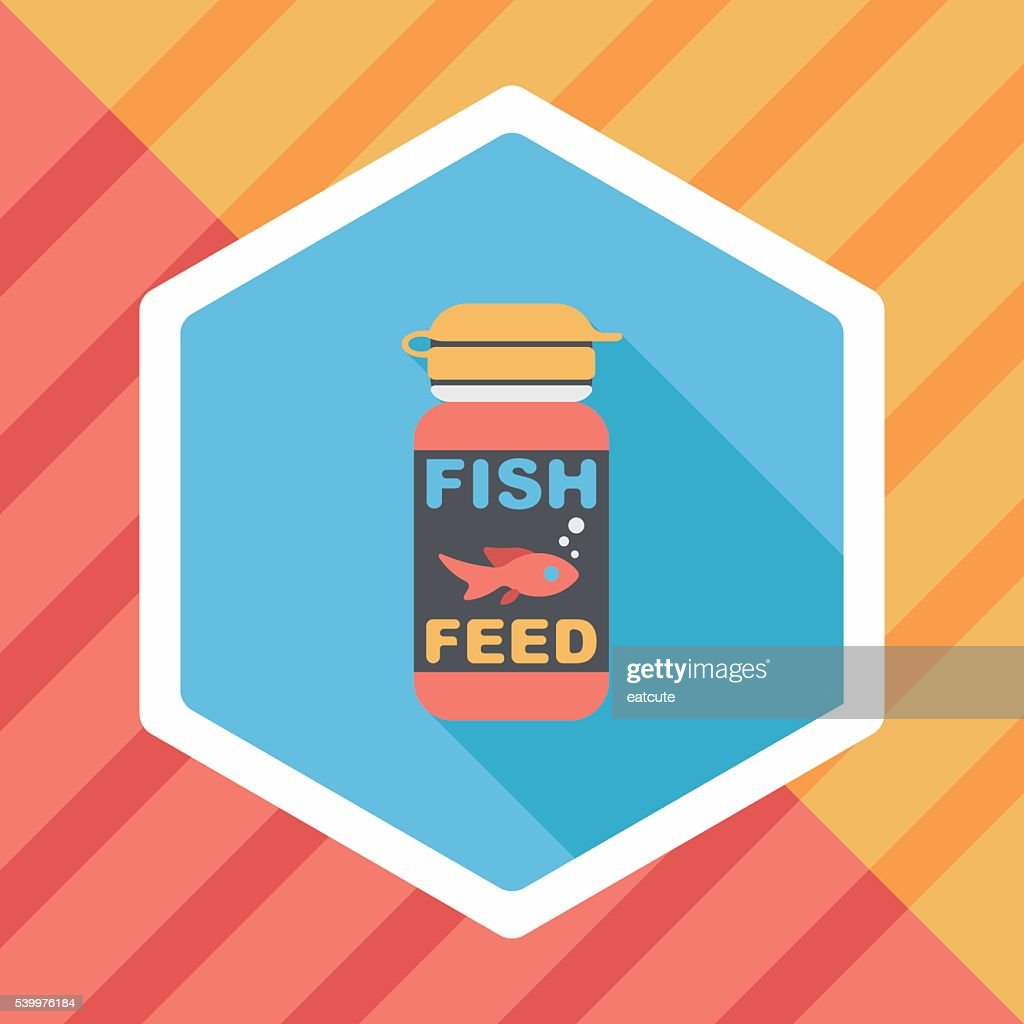 Pet fish feed flat icon with long shadow, eps10