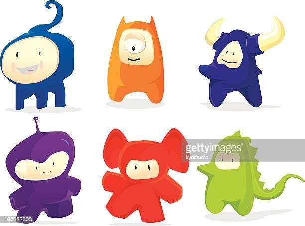 illustrations, cliparts, dessins animés et icônes de freaks les animaux de compagnie - cyclope