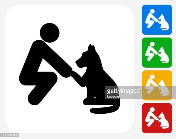 pet friendship icon flat graphic design - stick figure stock illustrations