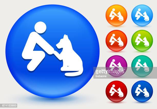 Pet Friendship Icon on Shiny Color Circle Buttons