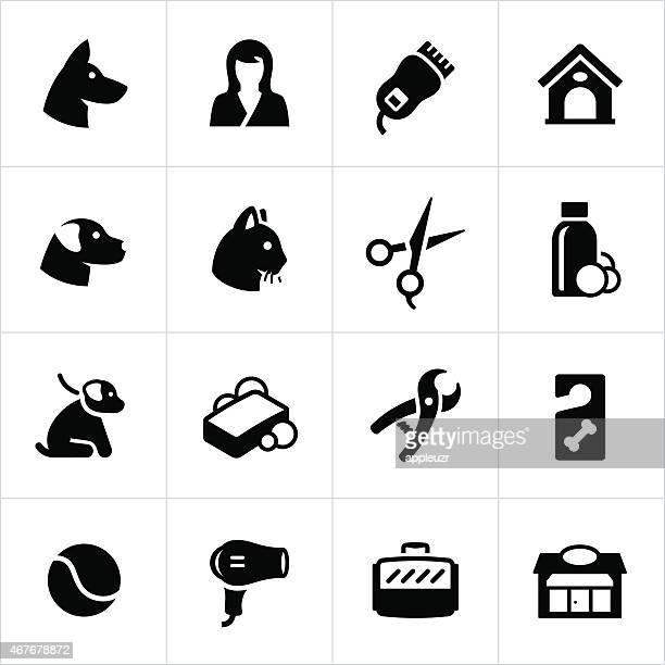 ilustraciones, imágenes clip art, dibujos animados e iconos de stock de aseo, arreglo y alojamiento de iconos para mascotas - caseta de perro