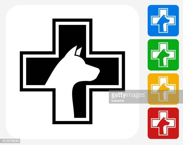 pet health icon flat graphic design - veterinarian stock illustrations, clip art, cartoons, & icons