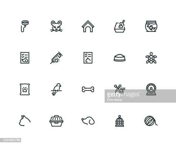 pet icon set - thick line series - pet equipment stock illustrations, clip art, cartoons, & icons