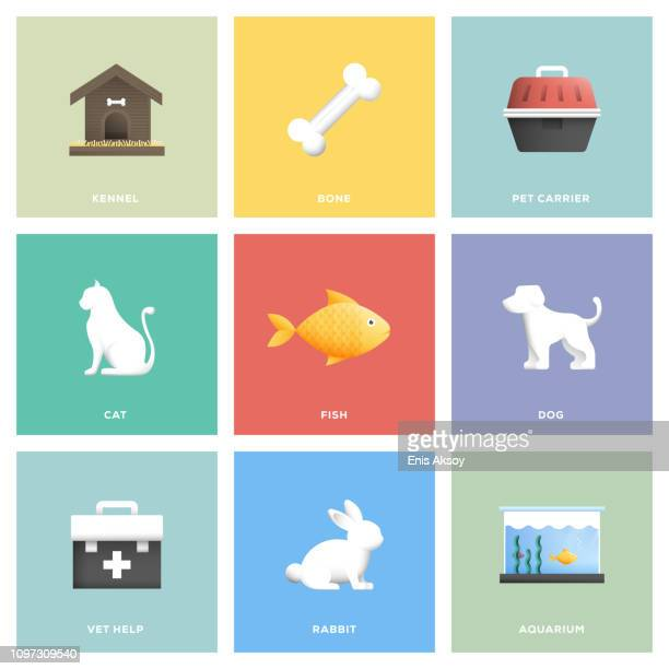 pet icon set - fish love stock illustrations