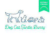 Pet icon set with editable strokes. Dog, cat, turtle and rabbit, bunny symbols. Minimal dog, pussy, tortoise and bunny outlines for infographics or web use. Pixel perfect flat design. Animal illustration
