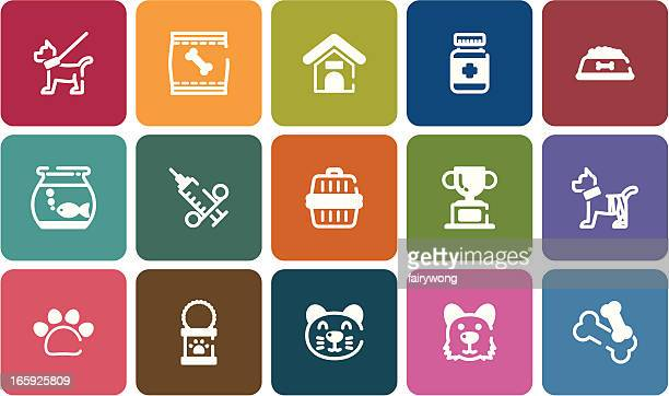 pet icons - dog bowl stock illustrations, clip art, cartoons, & icons