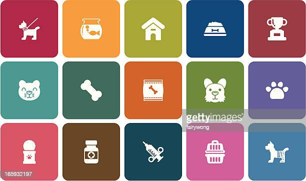 pet icons - pet equipment stock illustrations, clip art, cartoons, & icons