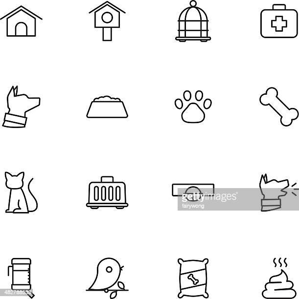 pet icons - dog leash stock illustrations, clip art, cartoons, & icons
