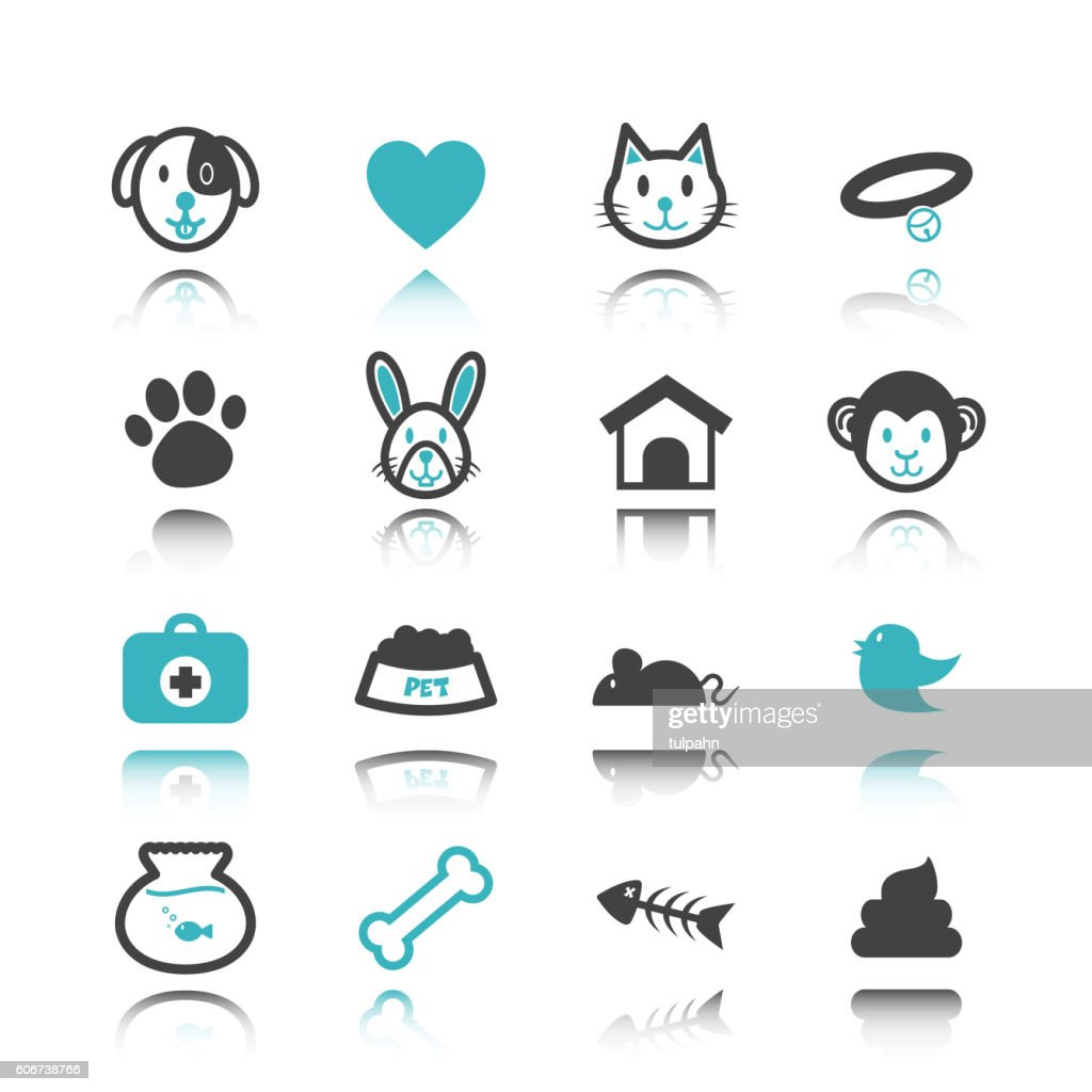 pet icons with reflection
