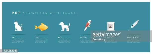 stockillustraties, clipart, cartoons en iconen met huisdier zoekwoorden met pictogrammen - fish love