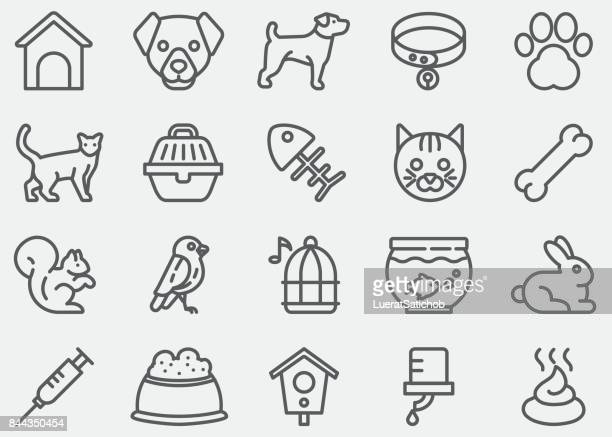 pet line icons - pet equipment stock illustrations, clip art, cartoons, & icons