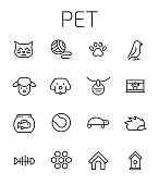 Pet related vector icon set