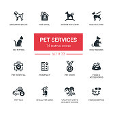 Pet Services - Modern simple thin line design icons, pictograms set