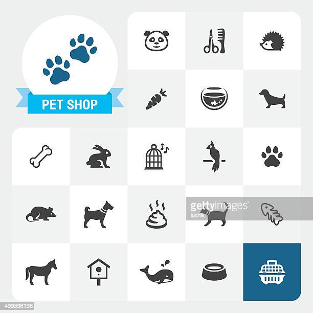 pet shop base vector icons and label - dog bowl stock illustrations, clip art, cartoons, & icons