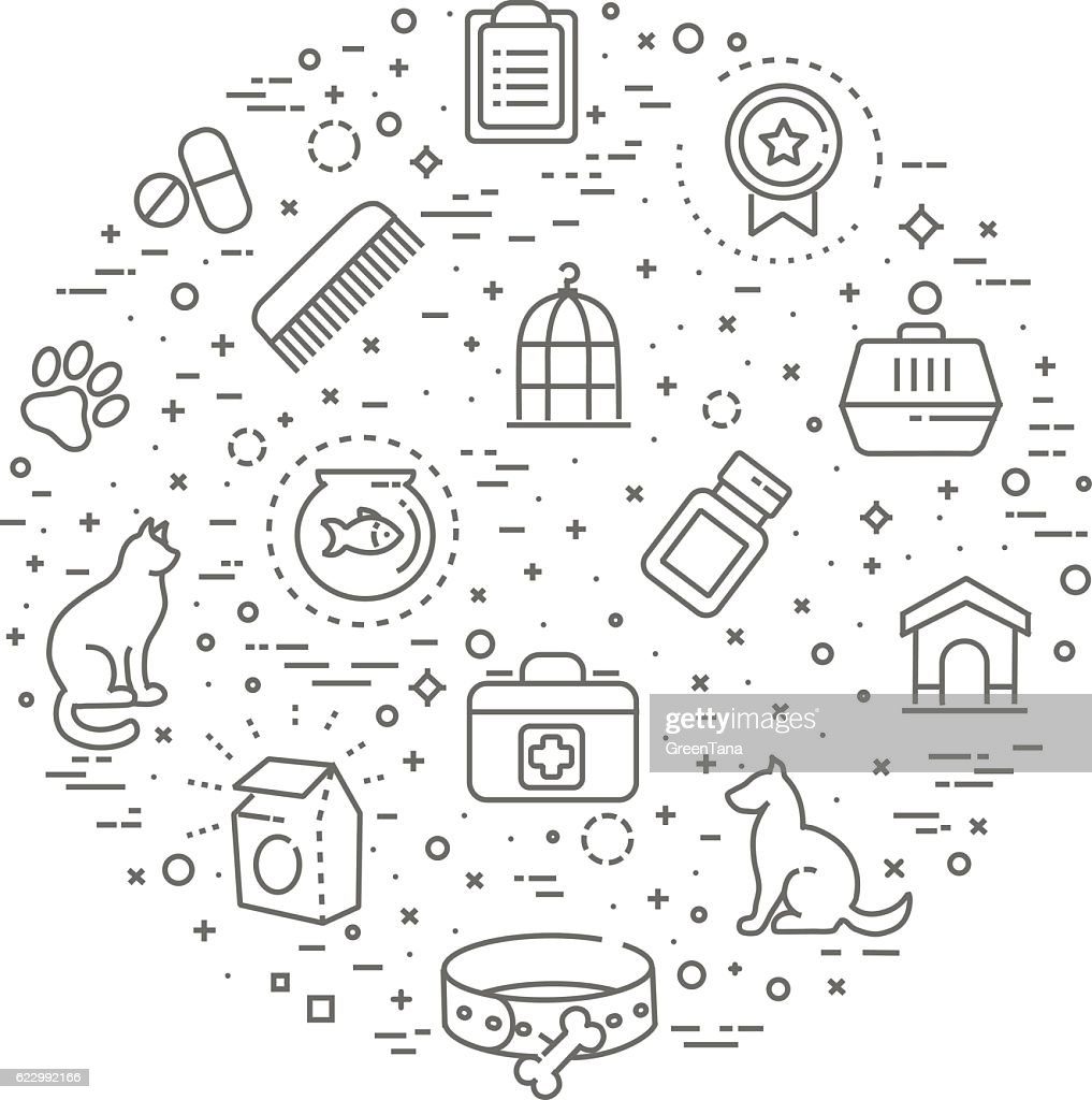pet shop concept illustration,line design vector template