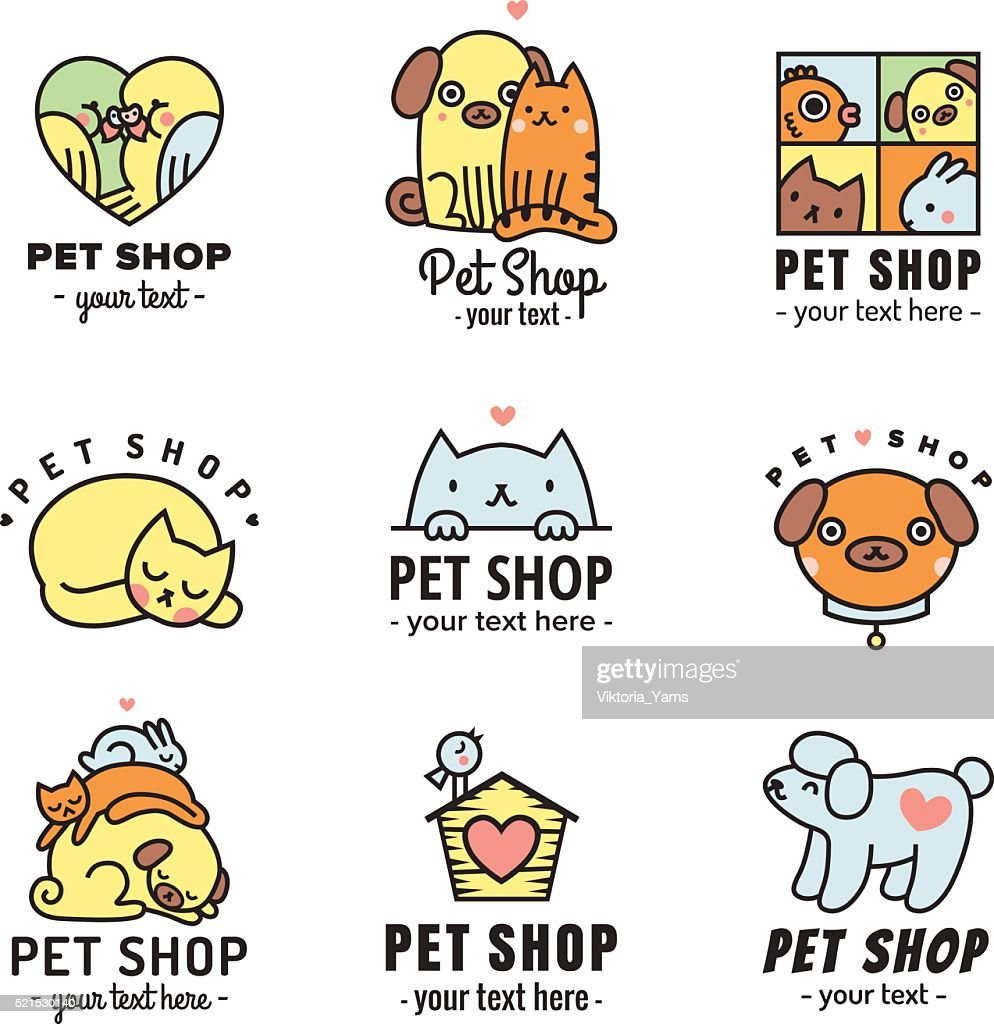 Pet shop cute logos (stickers) black vector set.