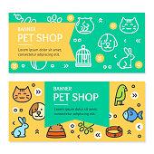 Pet Shop Flyer Banner Placard Set. Vector