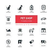 Pet Shop - Modern simple thin line design icons, pictograms set
