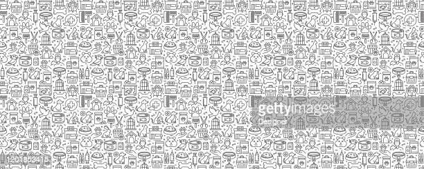 pet shop related seamless pattern and background with line icons - pet equipment stock illustrations