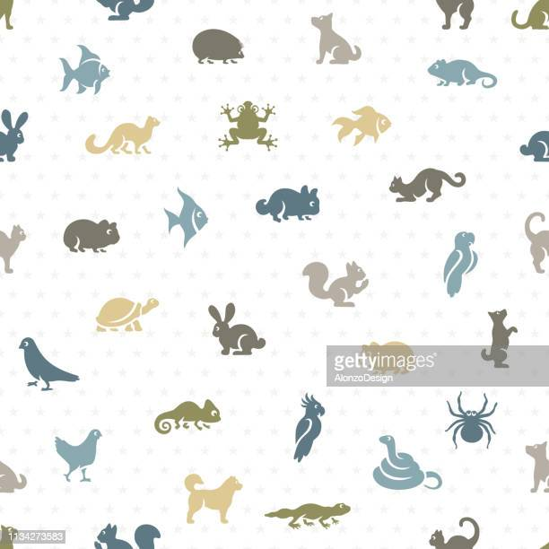pet shop seamless pattern - animal markings stock illustrations, clip art, cartoons, & icons