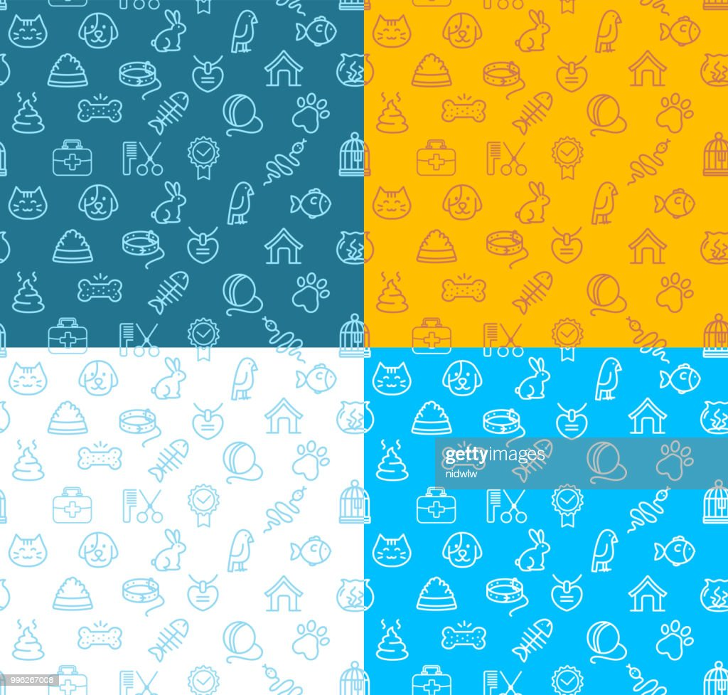 Pet Shop Signs Seamless Pattern Background Set. Vector