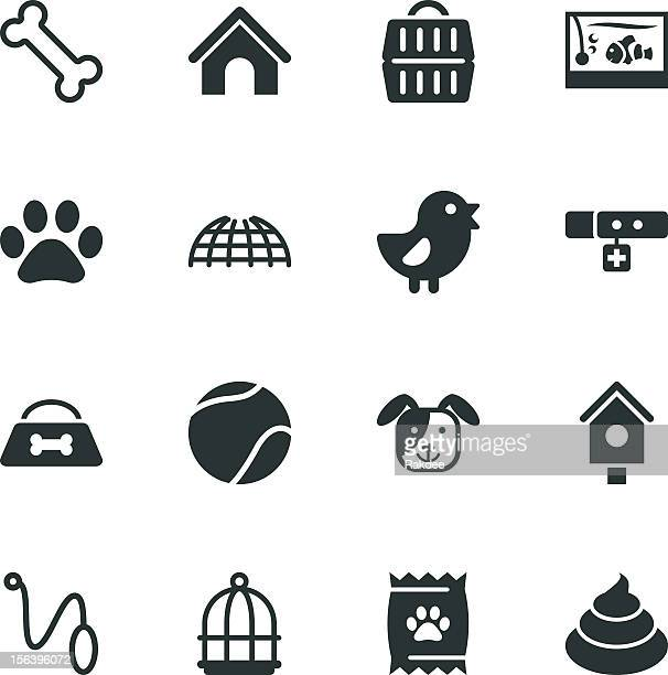 pet silhouette icons - dog bone stock illustrations