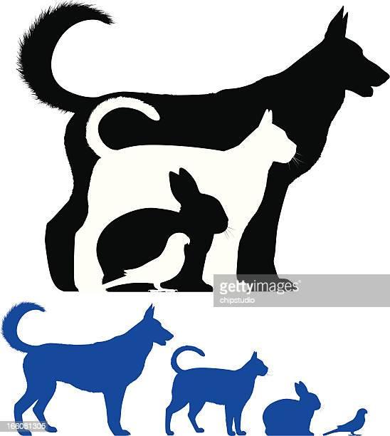 pet silhouette - pets stock illustrations