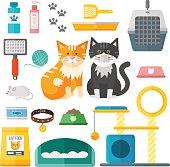 Pet supplies cat accessories animal equipment care grooming tools vector