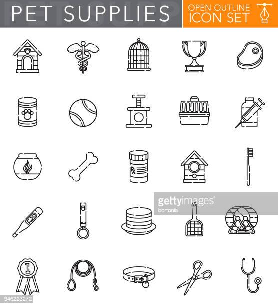pet supplies open outline icon set - pet equipment stock illustrations, clip art, cartoons, & icons