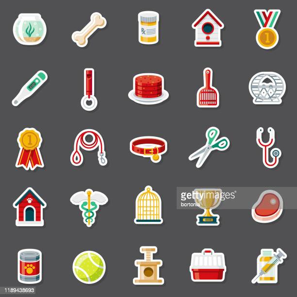 pet supplies sticker set - dog toys stock illustrations